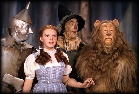 Dorothy (Judy Garland), Tin Man, Scarecrow and Lion
